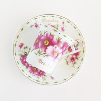 October Cosmos Blossoms Cup and Saucer Set