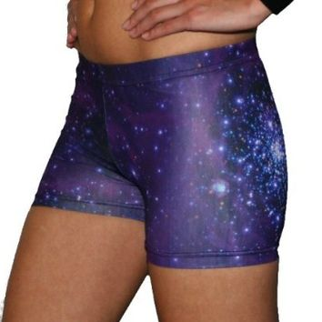 Galaxy Basic Shorts (Purple, 4 in. Adult M 8-10)