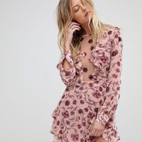 For Love and Lemons Floral Plunge Mini Dress at asos.com