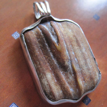 Natural Folded Stone Pendant in Sterling Wrap etsy handmade metal jewelry