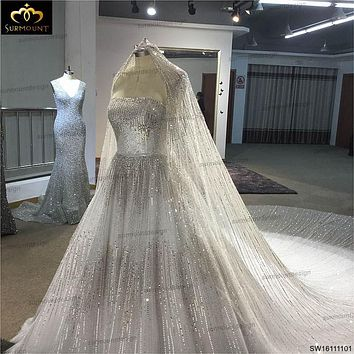 Surmount Real Sample Luxurious Full Crystal Beaded Newest Ball Gown Wedding Dress 2016