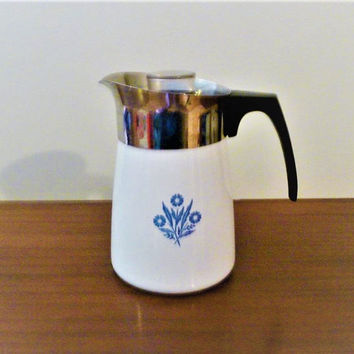"Vintage 1970s Corning Ware ""Blue Cornflower"" 6 Cup Enamel and Stainless Steel Coffee Pot / Percolator / Retro Coffee Pot"