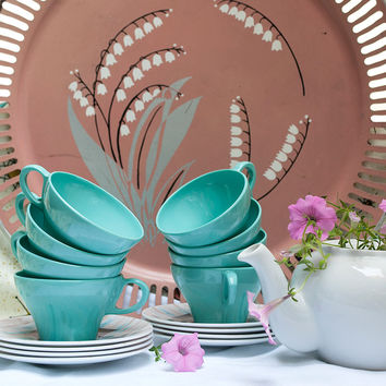 Turquoise Texas Ware Cups and Saucers Set of 8 Aqua Melmac Tea Coffee Cups Melamine 1970s Retro Kitchen Motif Plastic Teacups