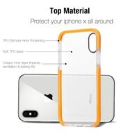 iPhone X Case, iPhone 10 Case, DBEAZZT [Unique Inner] Soft Fit Bumper [Shock Absorption Flexible TPU] [Anti Scratch Back] Protective Shell Cover for Apple iPhone X/iPhone 10 (5.8 inches), Orange