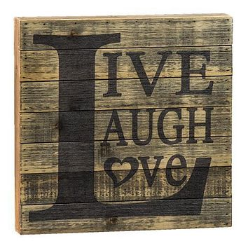 "Vintage Distressed Sign: ""Live, Laugh, Love"""
