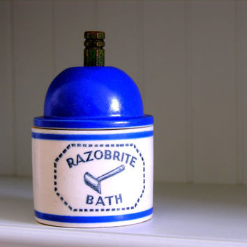 Vintage Razobrite Razor Bath Cleaner Vanity Bathroom Etsy Dudes Father's Day Cobalt Blue Graphics Shaving Collectible