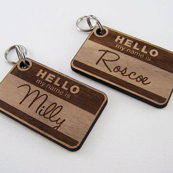 Wood Pet ID Tag - Custom Cat Collar Charm Laser Cut