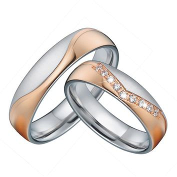 Cool Unique Wedding band sets Anniversary Rings king and queen Rose Gold Color Best Couple Engagement rings for womenAT_93_12