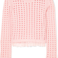 Giambattista Valli - Lace-trimmed open-knit wool and mohair-blend sweater