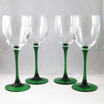 France Emerald Green Stemmed Wine Glasses(4)
