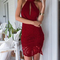 Wine Red Halter With Lace Backless Dress