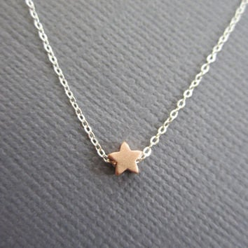 Mini Star Necklace Tiny Rose gold stars necklace Dainty by Muse411
