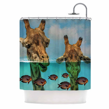 "Suzanne Carter ""Larry & Fred Periscope"" Mixed Media Animals Shower Curtain"