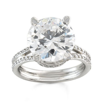 Platinum diamond pave engagement ring with 2ct Round white Sapphire and 0.33 ctw G-VS2 clarity diamonds
