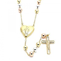 Gold Layered 09.253.0019.24 Large Rosary, Guadalupe and Crucifix Design, Polished Finish, Tri Tone