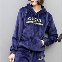 Gucci Hoodie Top Sweater Pullover Pants Trousers Set Two-Piece Sportswear Dark blue