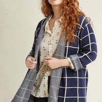 Simply Snuggly Checked Cardigan in Navy