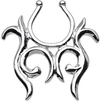 Silver Tone Tribal Symmetry Clip On Nipple Ring | Body Candy Body Jewelry