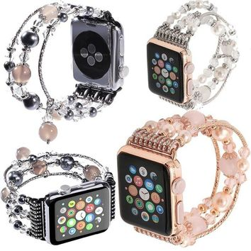 Women Agate Stretch Bracelet Replacement iWatch Strap Apple Watch Band 42mm 38mm