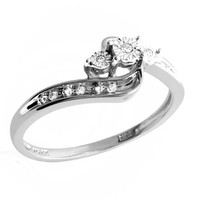 Diamond Accent Three Stone Bypass Promise Ring in 10K White Gold - View All Rings - Zales