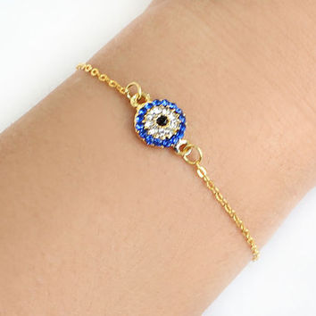 Evil eye bracelet handmade swarovski evil eye gold plated chain dainty bracelet istanbul turkey ethnic arabic best friend birthday gift