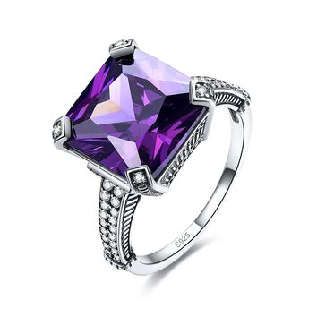 Merthus Antique 13.35ct Princess Cut Mystic Rainbow Topaz Gemstone Ring 925 Sterling Silver
