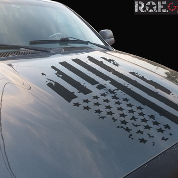 Distressed USA Flag hood vinyl decal worn torn fits: Dodge Ram Chevy Ford Toyota Nissan