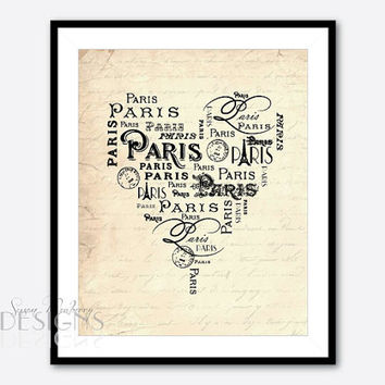 Paris Typgography Print - Heart Shaped Word Art - French Country - Vintage French Script - 8 x 10 art print - France - Eiffel Tower
