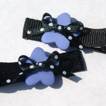 black and purple clippies- polkadot hair clip- girls accessories