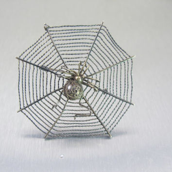 Sterling Spider Web Brooch, MMA Metropolitan Museum Of Art, Chinese Ming Era Hair Ornament Reproduction, Vintage Unisex 1980 Arachnid Brooch
