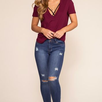 Rise Up Distressed Skinny Jeans - Medium