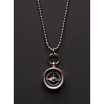 Mini Silver Compass Necklace for Men