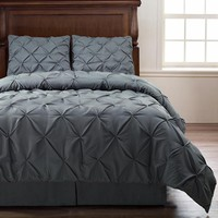 Emerson Charcoal GREY CALKING Size 4pc Pinch Pleat Puckering Comforter