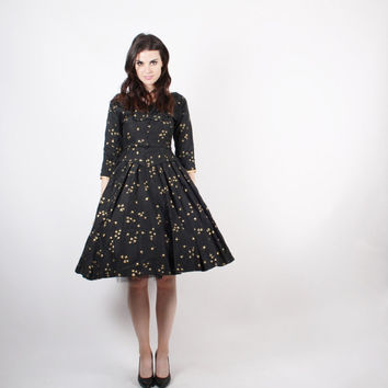 CYBER MONDAY SALE 50% Off 50s Black and Gold Party Dress  - 1950s Cocktail Dress  -  The Wishkeeper Dress  - 5224