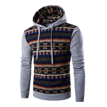 AfroFashion Geometric Print Sweatshirt Men Slim Fit Men Hoody