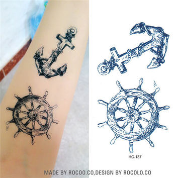 HC1137 Waterproof Temporary Tattoo Sticker Viking Sailor Cultural Anchor Rudder Design Flash Tattoo Body Art Fake Tattoo Sticker