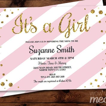 It's a Girl Baby Shower Invitation INSTANT DOWNLOAD Gold Glitter Pink Elegant Stripe Personalize Digital Party Invites Editable & Printable