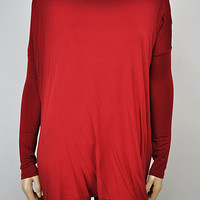 Wine Long Sleeve Piko Top from Rad and Lux