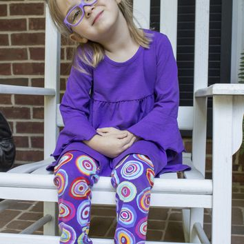 Three Friends Baby Set with Purple Top and Print Leggings