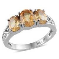 Brazilian Citrine (Ovl 1.15 Ct) 3 Stone Ring in Stainless Steel (Size 9)