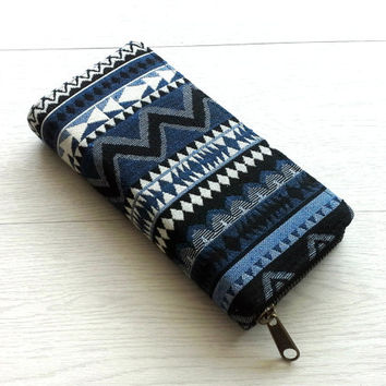 Blue Aztec Tapestry Wallet, Handmade Womens Zippered Long Wallet, Beautiful Cotton Phone wallet, travel wallet, YKK Metal zipper, Gift Idea