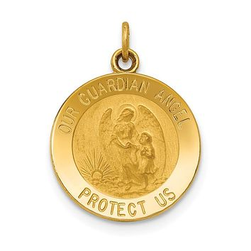 14K Yellow Gold Guardian Angel Medal Charm