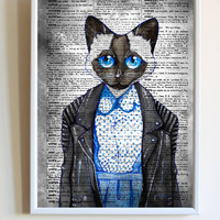 Fashion Cat Print Funny Kitten Anime Dictionary Paper Animal Poster Bedroom Wall Art Decor
