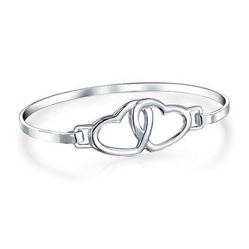 Couples Love Interlocking Hearts Bangle Bracelet 925 Sterling Silver
