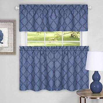 Ben&Jonah Collection Colby Window Curtain Tier Pair and Valance Set - 58x24 - Blue