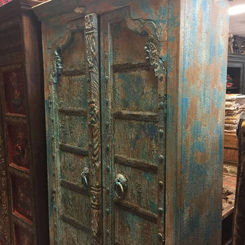 Farmhouse City Chic Antique Cabinet, Teak Doors, India Furniture, Blue Distressed Armoire, Iron Nailed,  Old World Charm Decor