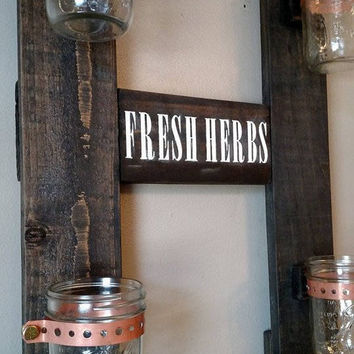 Hanging Rustic Herb Garden - Fresh Herbs Wall Garden - Country Hanging Wall Herb Garden