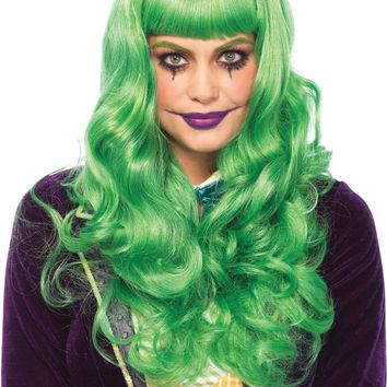 Costume Accessory: Wig Long Wavy Bang Green Trickster - 1 Units