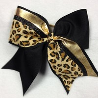 Black and Gold with Leopard print : GLITZ Cheer BowZ, Custom Products From Your Head To Your Toes