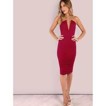 Bandeau Off Shoulder Skinny Solid Dress